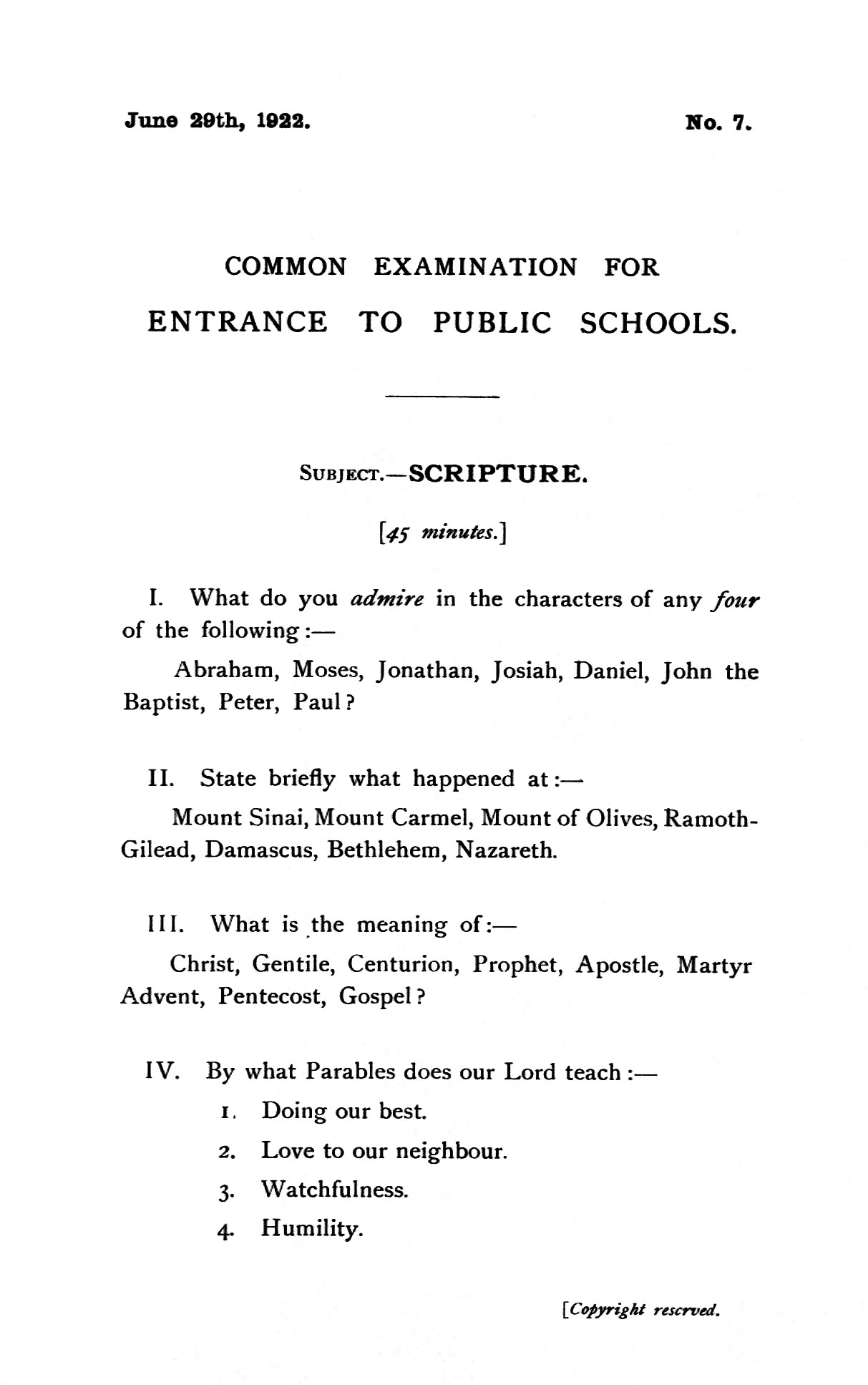 The Old Shirburnian Society - Common Entrance Exam Papers, 1922