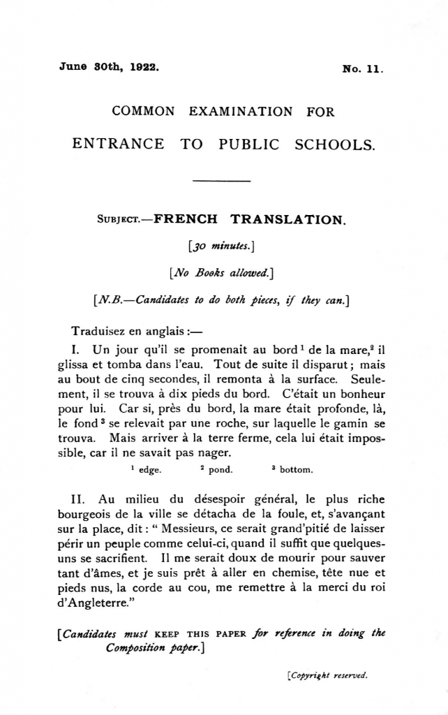 Essay in french with english translation